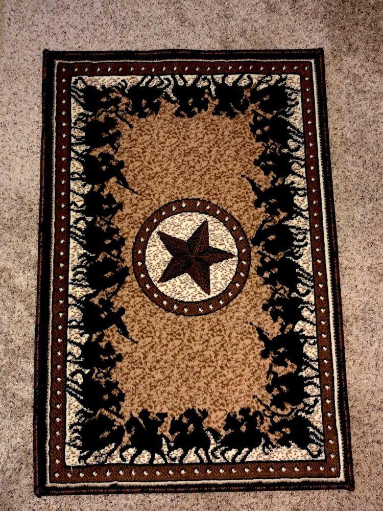 Texas Star Western Cowboy Horse Lodge Area Rug Cabin Carpet Ebay Cabin Rugs Rugs Cowboy Horse