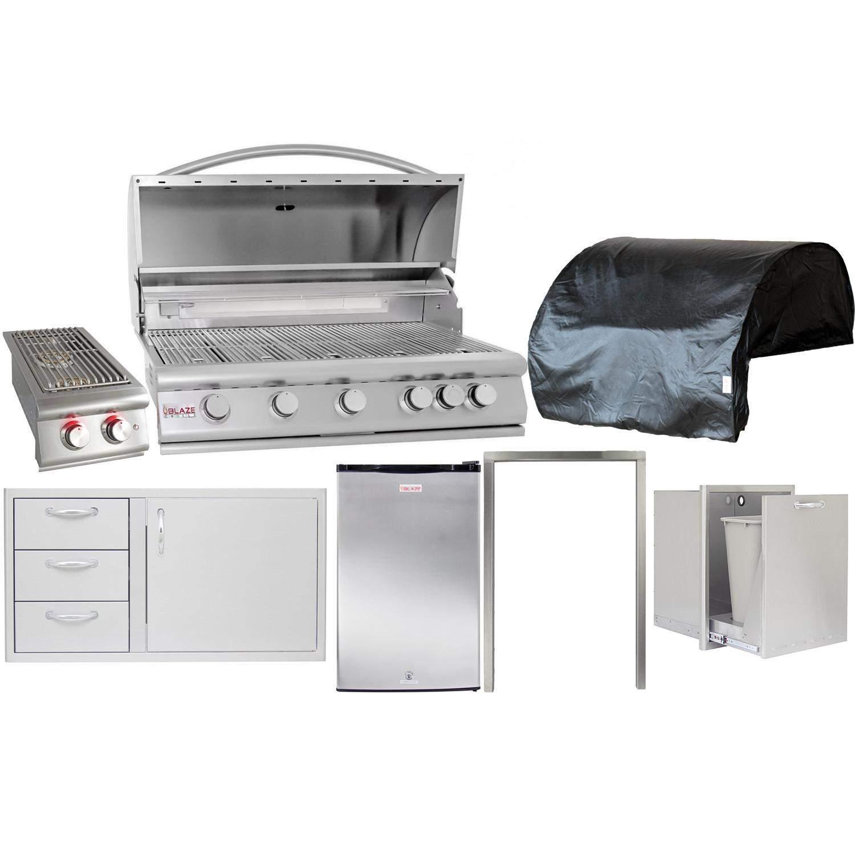 Blaze 7 Piece 40 Inch Natural Gas Outdoor Kitchen Package Bbqguys Outdoor Kitchen Outdoor Kitchen Design Built In Gas Grills