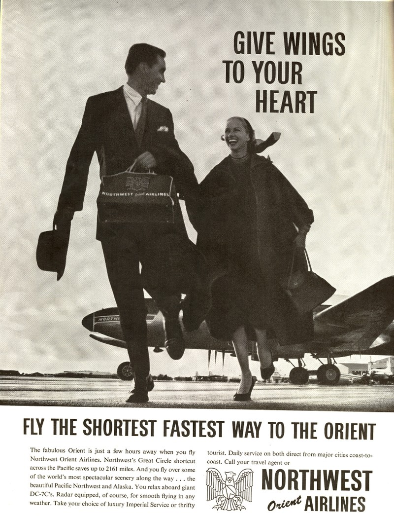 Fly the shortest fastest way to The Orient - Northwest Airlines.
