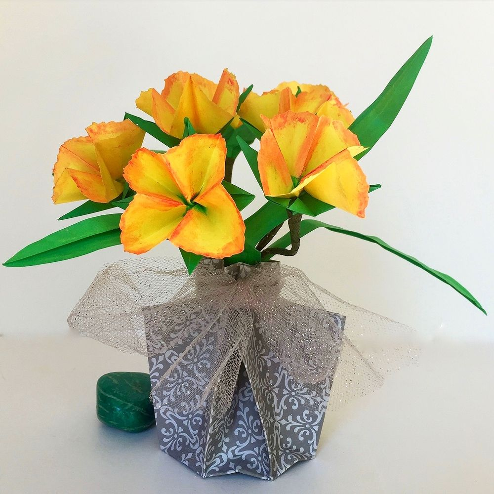Origami Flower Arrangements With Vase Origami Fiori Animali