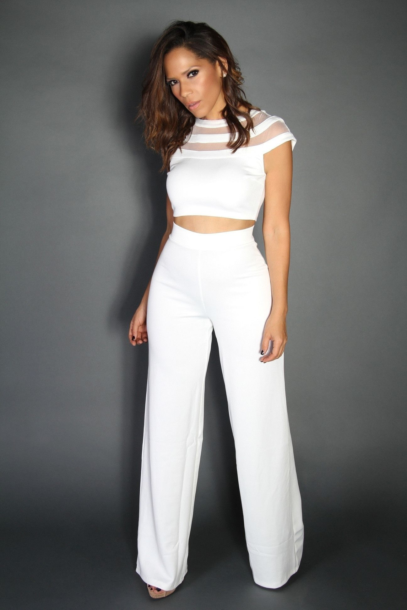 71d182b0f352 White Crop Top and High Waist Pants Two Piece Set | Fashion and ...