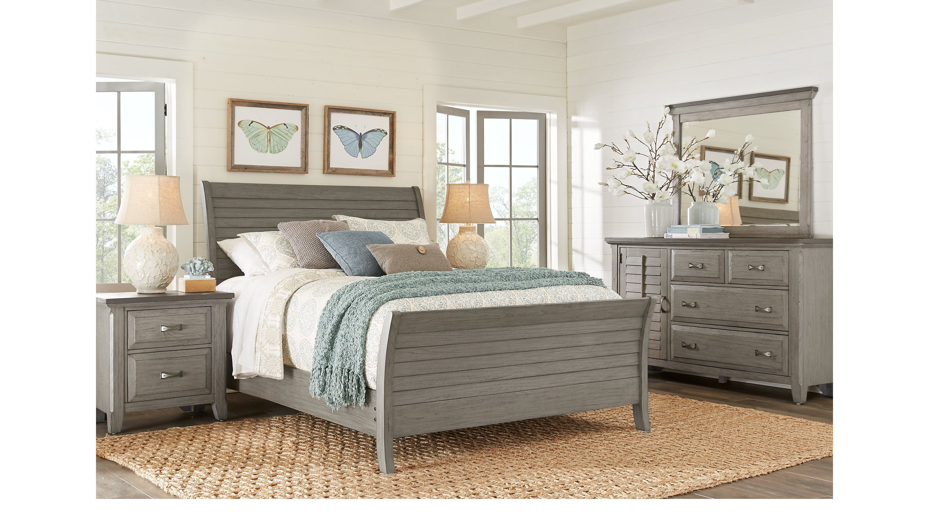 Nantucket Breeze Gray 5 Pc Queen Sleigh Bedroom  Queen