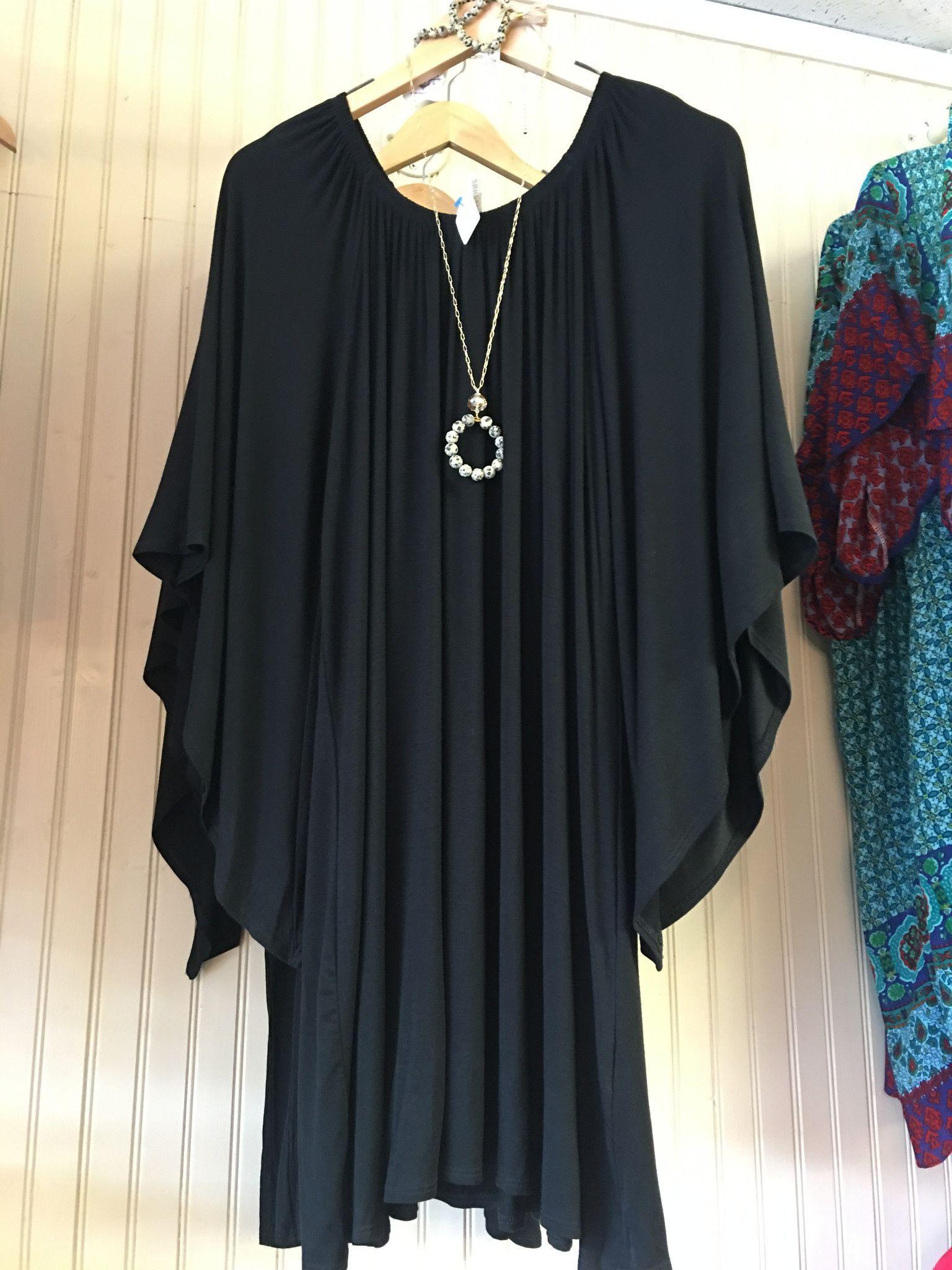 Black Plus Size Dress w/ Angel Wing Sleeves