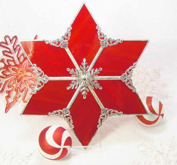 Red Christmas Tree Topper by MoreThanColors on Etsy