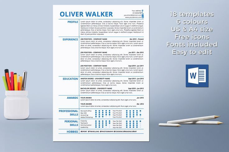 curriculum vitae template pdf resume templates instant download professional temple including cover letter references