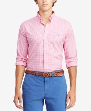 Polo Ralph Lauren Men s Classic Fit Woven Poplin Shirt - Pink white ... f61e24aebb7