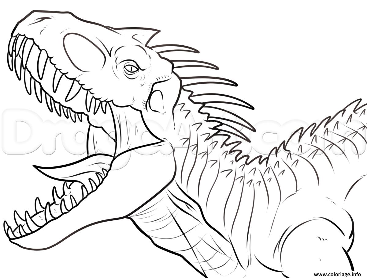 Coloriage indominus rex jurassic park dinosaure Dessin  Imprimer
