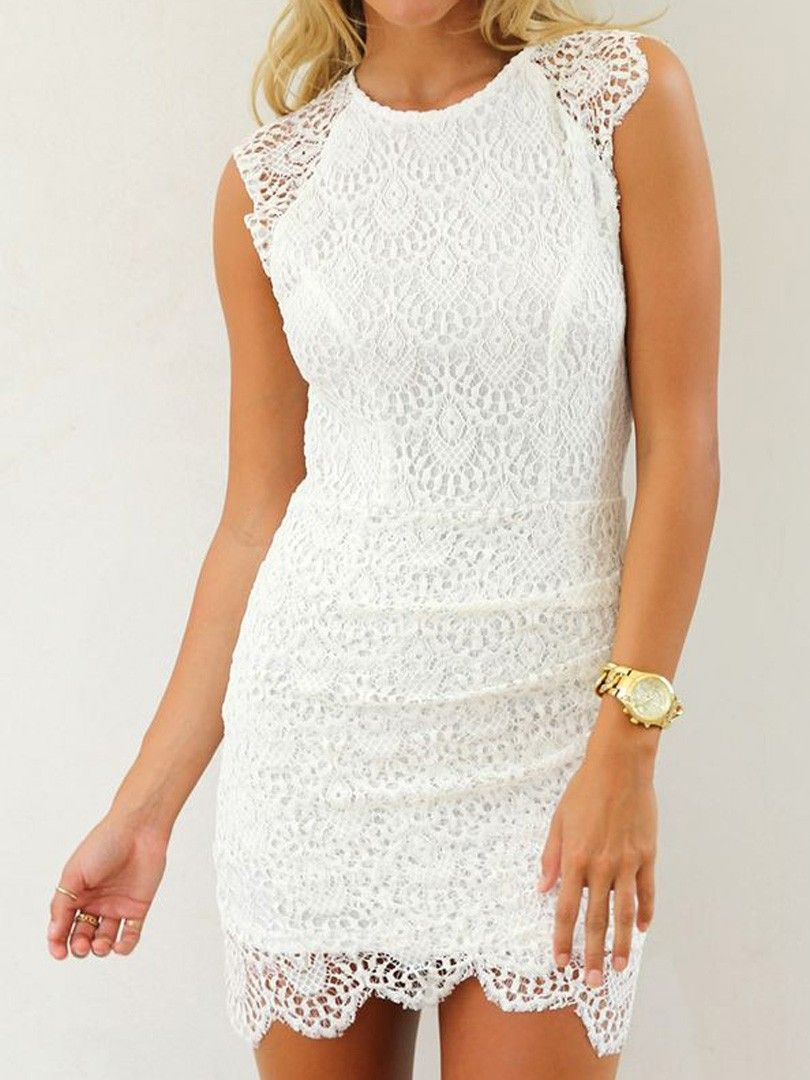 White Crochet Lace Sleeveless Bodycon Dress Lace Dress