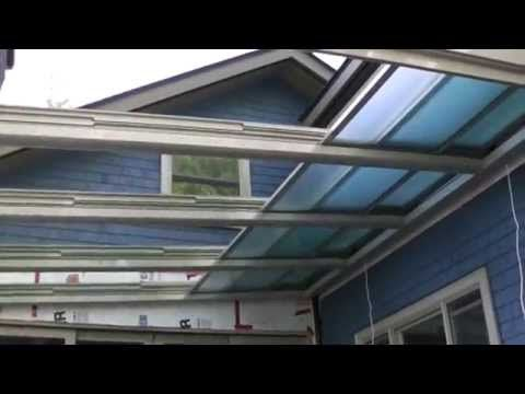 Retractable Glass Roof Installation Youtube Roof Garden Design Roof Installation Patio Canopy