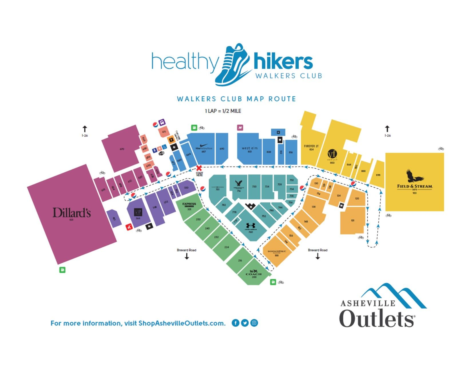 Asheville outlets healthy hikers walkers club