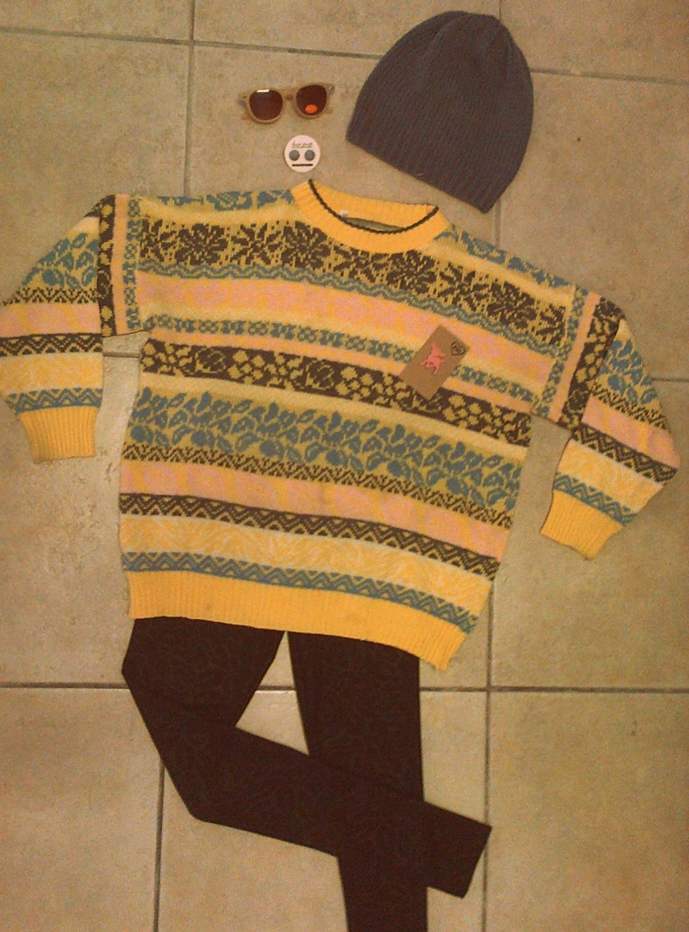 Look of the day... Sunglasses - R100 Bow Peep earrings - R55 Cottage Clothing beanie - R179 Rewind Vintage jersey - R160 Honeysong perspex bambi brooch - R80 Beelee rose print leggings - R285
