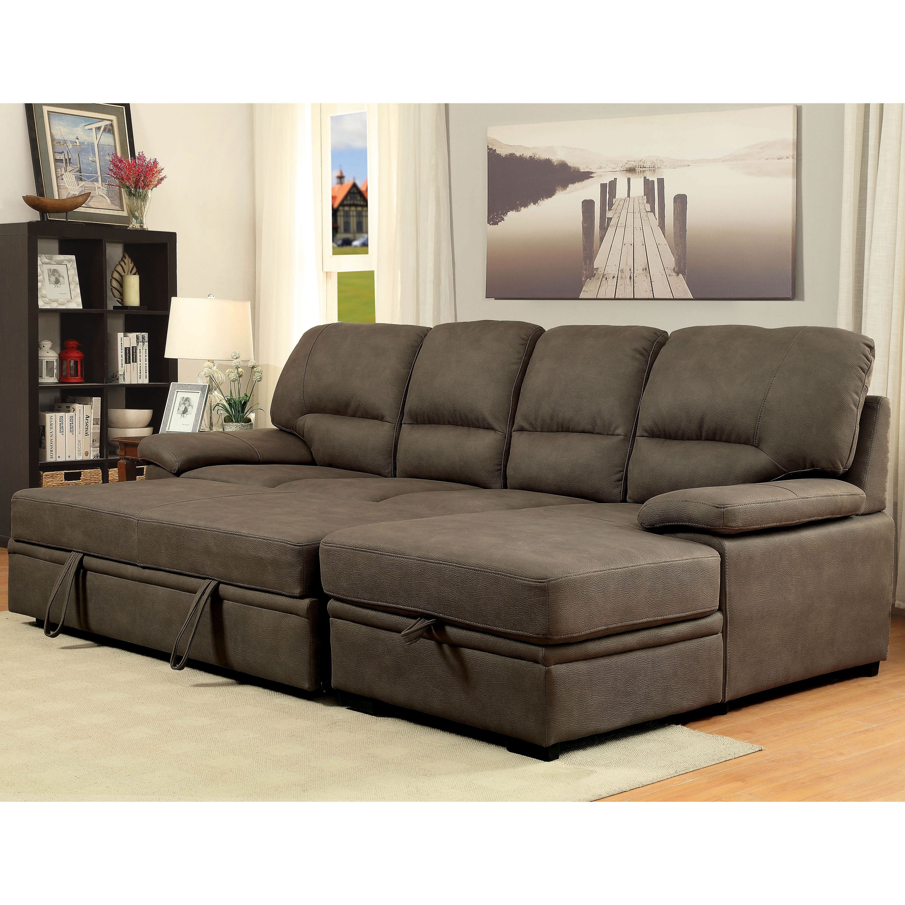 Sectional Pull Out Couch Furniture Of America Delton Contemporary Faux Nubuck Sleeper