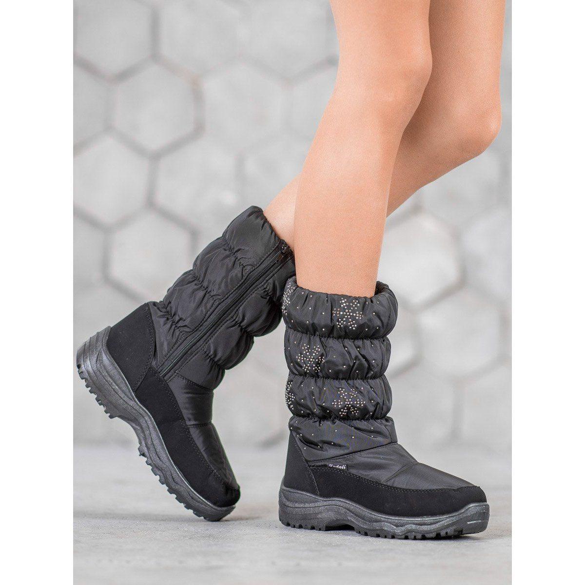 Shelovet Cieple Sniegowce Na Platformie Czarne All Black Sneakers Boots Black Sneaker