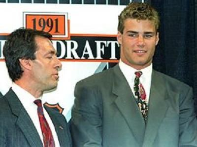 June 22, 1991 The Quebec Nordiques held the No. 1 selection in the draft. The Nordiques would select highly touted prospect Eric Lindros, a power forward who spent most of his junior career with the Oshawa Generals of the Ontario Hockey League. However, Lindros refused to play for the Nordiques, which led to one of the biggest trades in NHL history #ericlindros #philadelphia #flyers #philadelphiaflyers #nhldraft #nhl #nhlfinals #nhlstanleycup #stanlycup…
