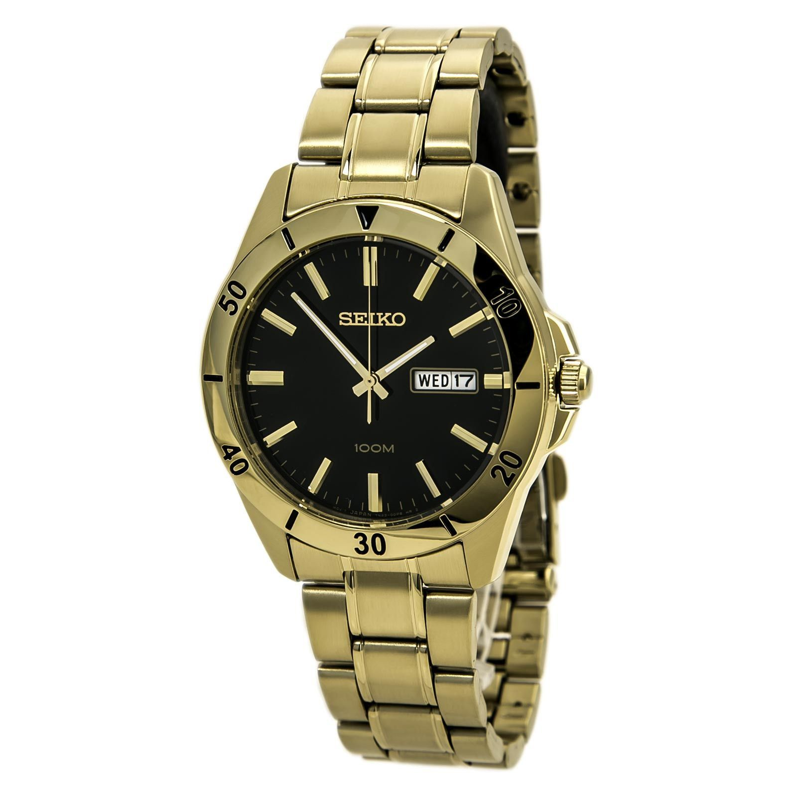 Seiko SGGA86 Men's Special Value Sports Black Dial Gold Plated Steel Bracelet Quartz Watch