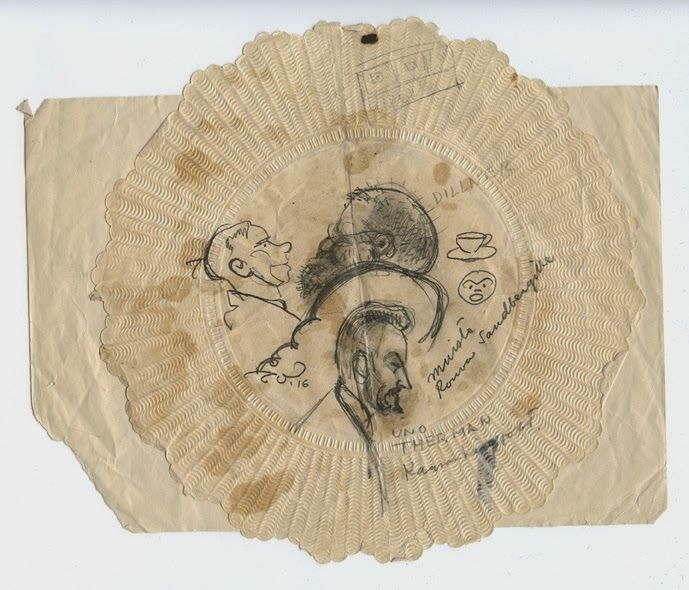 Piirtäjän tunnustuksia: Topi piirteli kahvilassa – vuonna 1916  Topi Vikstedtin – selvästikin käytetty – lautasenalunen, johon on piirrelty pöytäseurueen jäsenten karikatyyrejä vuonna 1916.