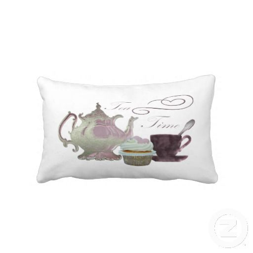 Tea Time Pink Cupcake, Teapot and Cup Art Pillow