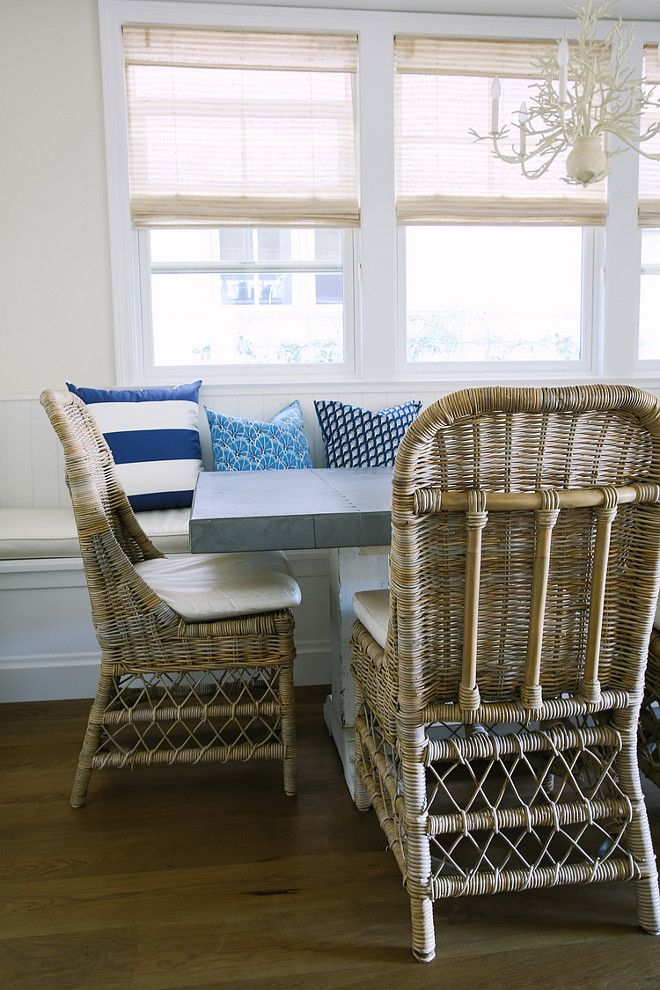 Wicker Chairs. Breakfast Nook With Wicker Chairs, Zinc Top Table And Currey  And Co