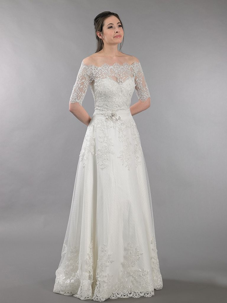 Ivory Strapless Dot Lace Wedding Dress With Off Shoulder Bolero