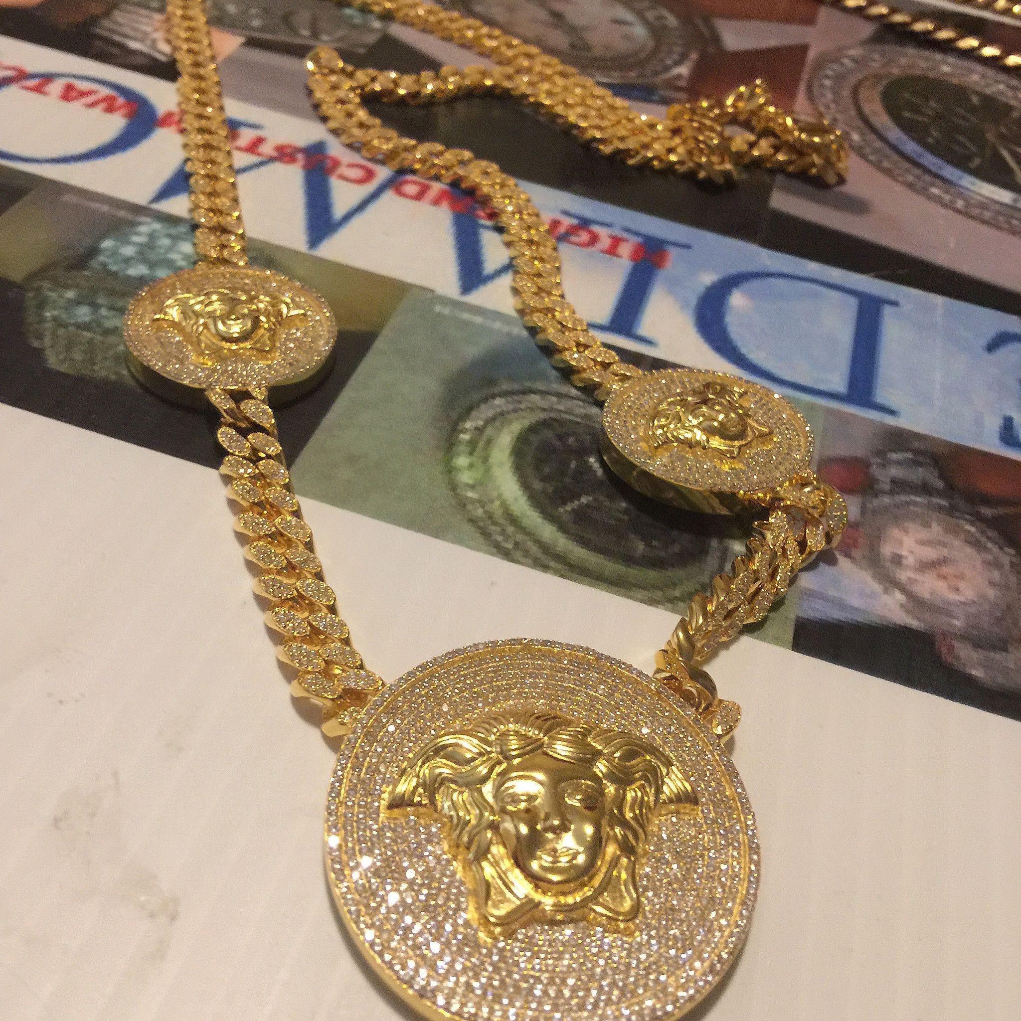 arabic bespoke pendant brand name chains gold chain custom with rose pin