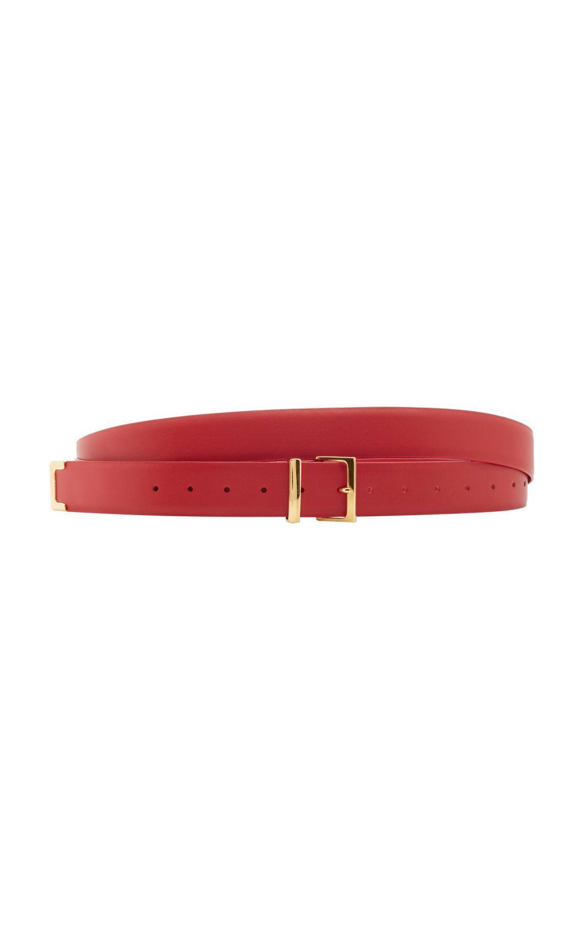 Moda Operandi Spring Summer 2020 Khaite Red Double Wrap Belt With Gold Buckle Double Wrap Belt Wrap Belt Belt