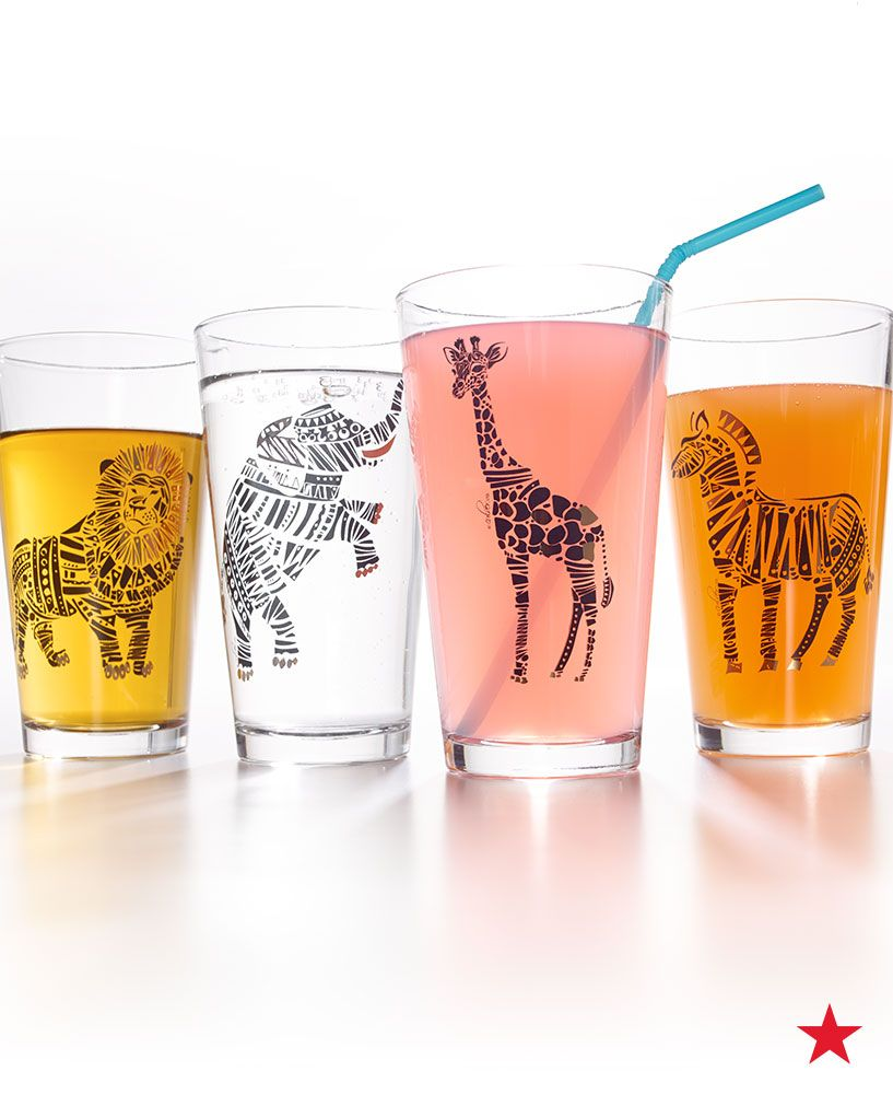 These safari-themed glasses from Culver are super cute. Pick a set up from Macy's for your college apartment!
