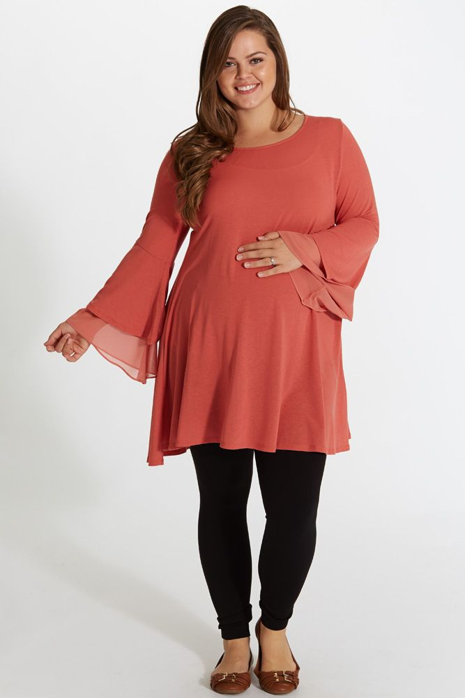 Coral Chiffon Accent Bell Sleeve Plus Size Maternity Tunic