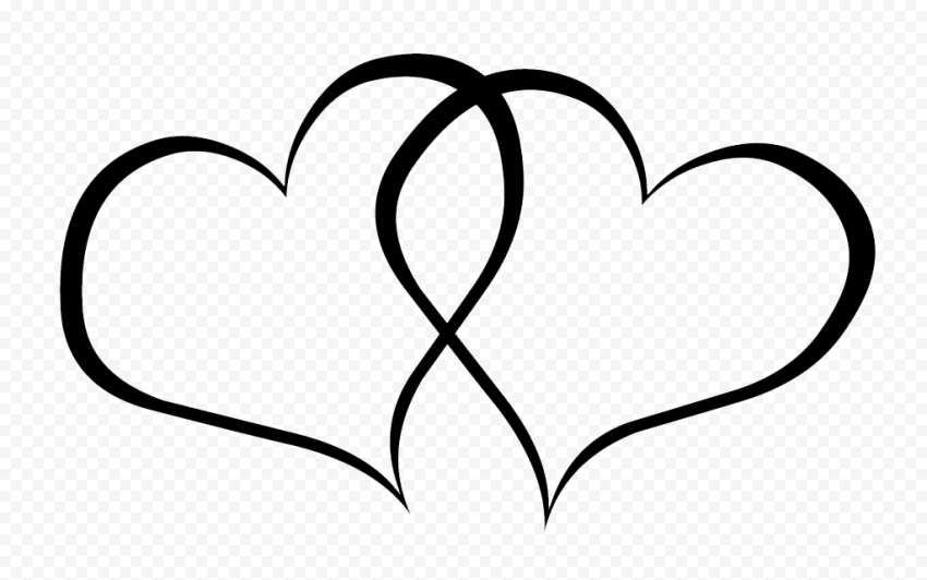 Two Black Outline Love Heart In 2021 Love Heart Love Png Photo Heart