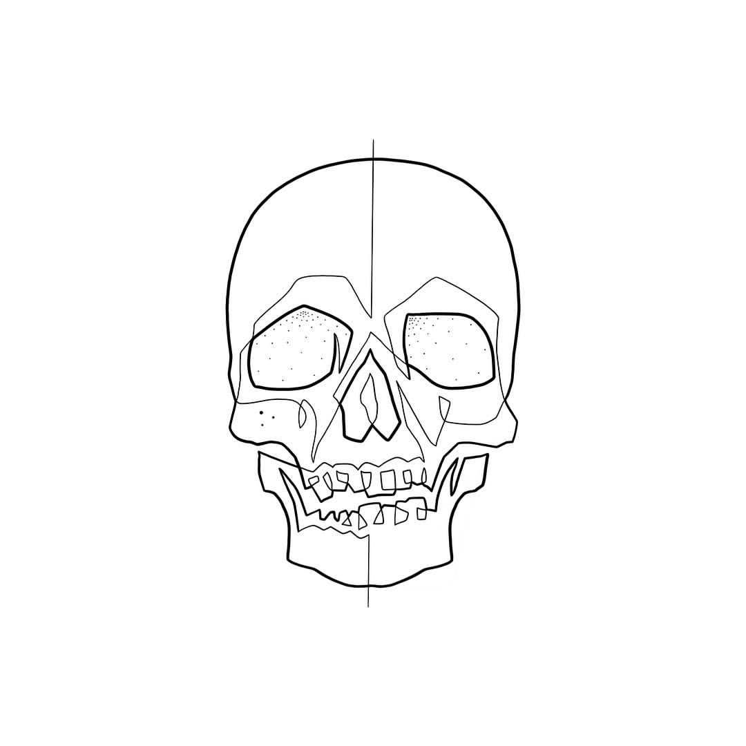 Moganji Singleline This Skull Is The Sixth Design In A Series Of Images That I Will Post Time After Time Th Line Drawing Tattoos Mo Ganji Small Skull Tattoo