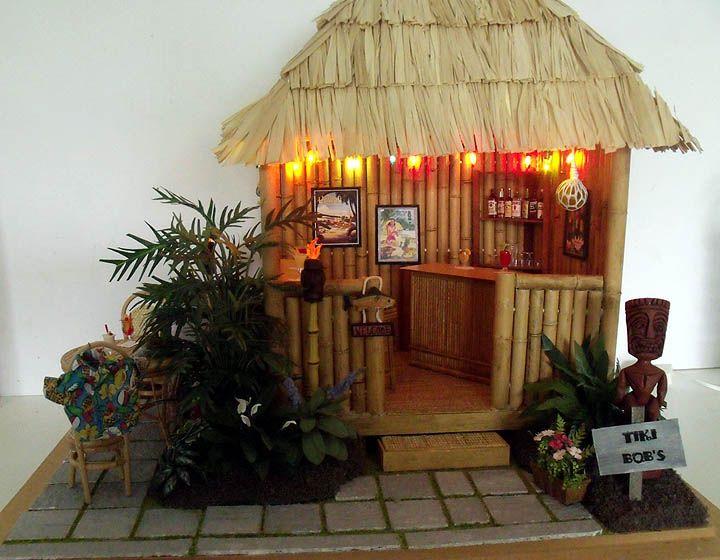 Miniature Hawaiian Beach Tiki Hut Frontview