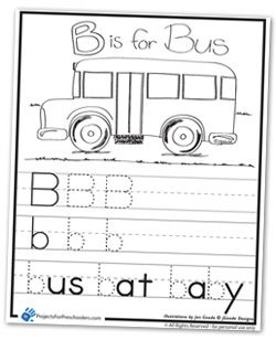 B is for Bus coloring page worksheet Wheels on the Bus