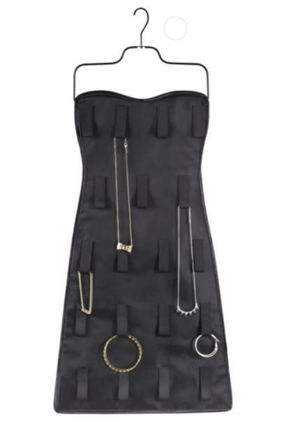 Bow Dress Jewelry Organizer Brass metal Metal buttons and Black satin