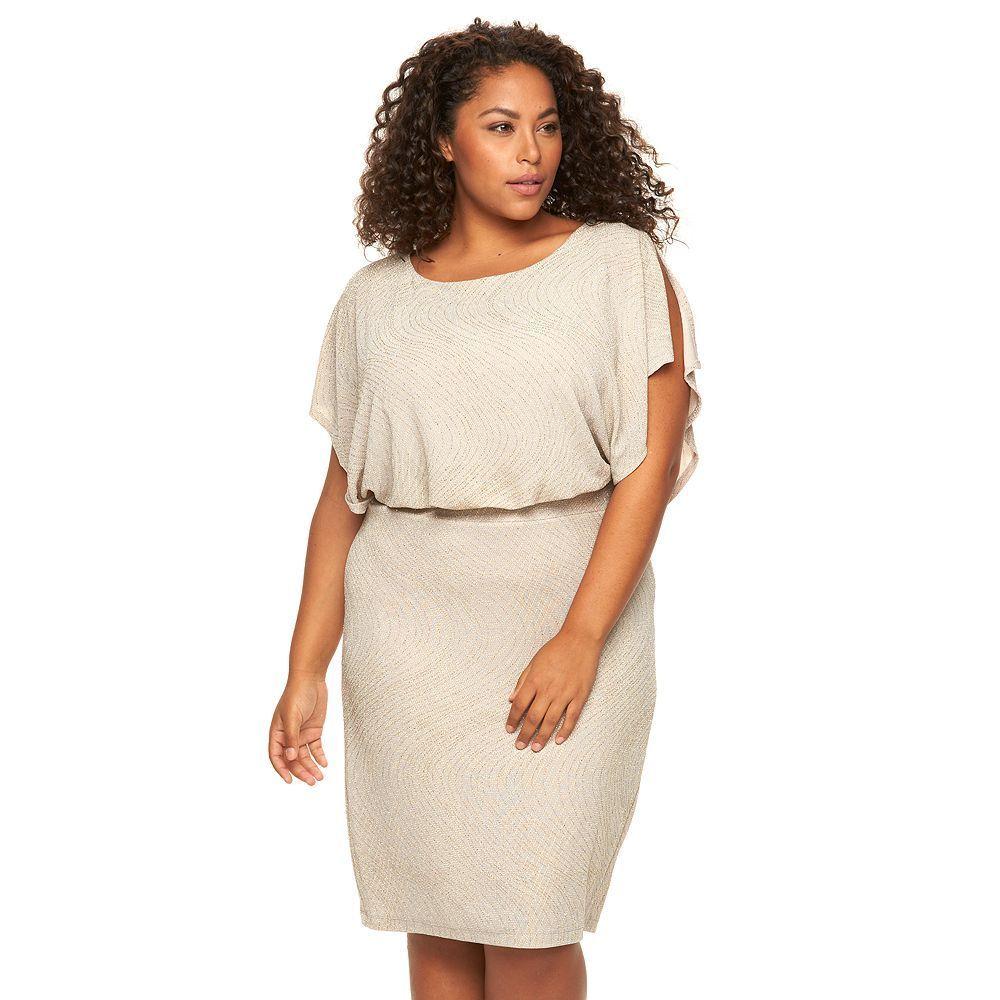 Jcpenney wedding dresses plus size  Plus Size Chaya Lurex Flutter Blouson Dress Womenus Size  W