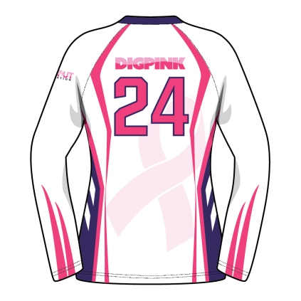 Custom Fuze Women S Sublimated Pro Series Quick Ship Long Sleeve Jersey Dig Pink Long Sleeve Jersey Dig Pink Volleyball Jerseys