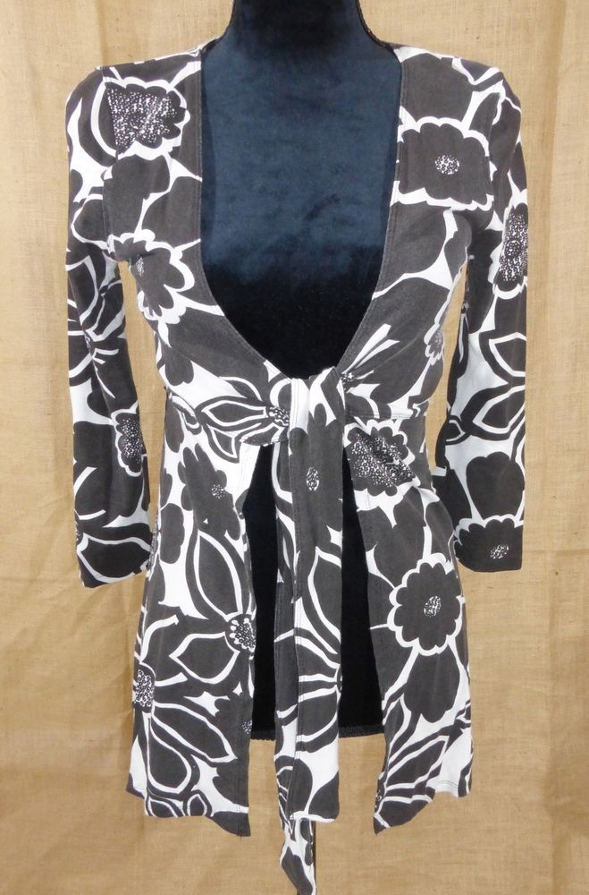 c80b3af4e4 CAbi women s tie front cardigan duster open front top 3 4 sleeve size  Medium