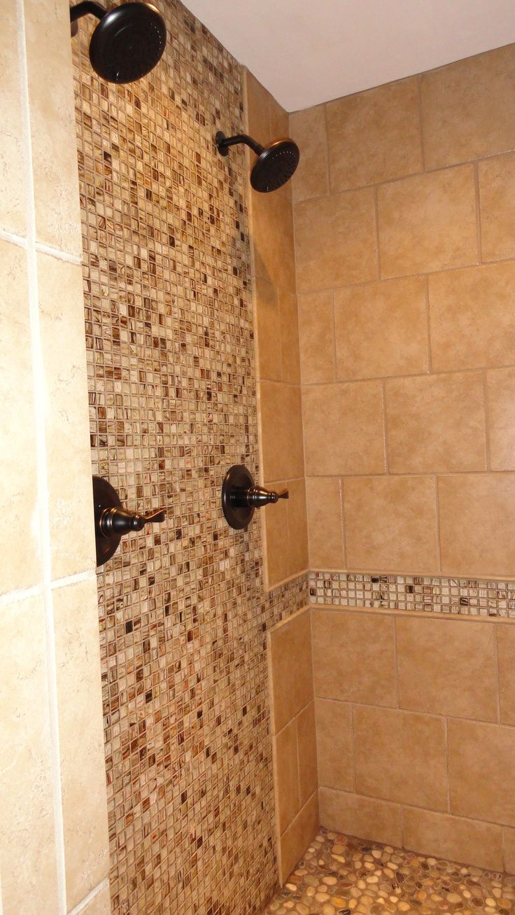 mosaic accent tile shower background wall decoration double shower