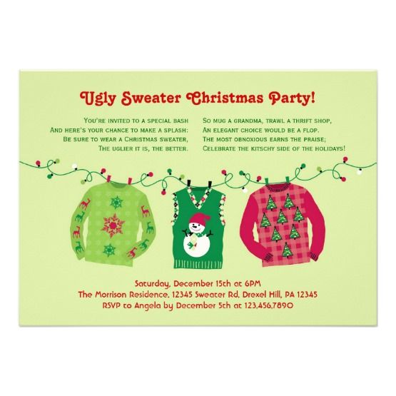 Custom Ugly Sweater Christmas Party Invitation Christmas - holiday party invitation