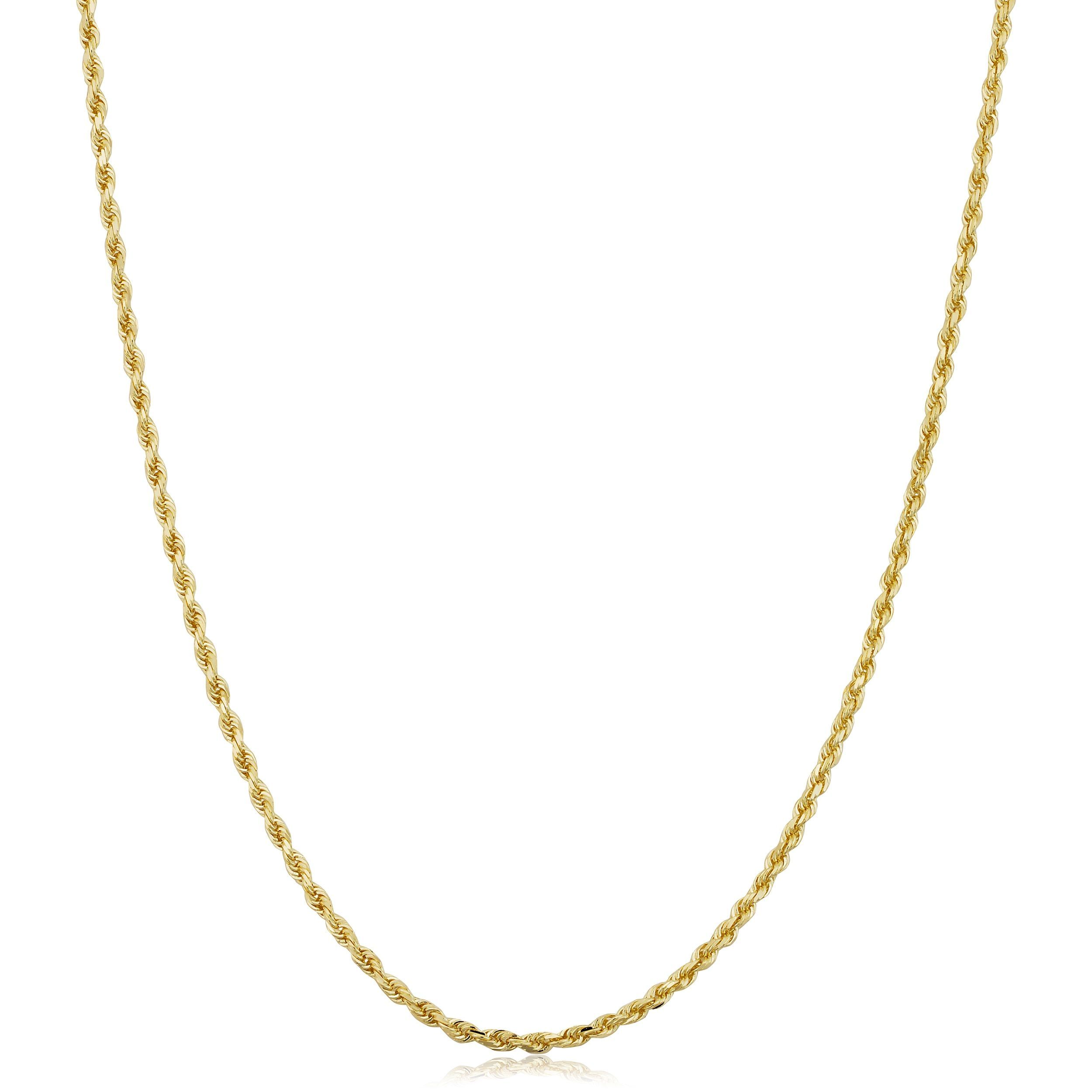 10k Yellow Gold 1 5 Mm Semi Solid Rope Chain Necklace 14 30 Inch Silver Claddagh Ring Sterling Silver Necklaces Gold Rope Chains