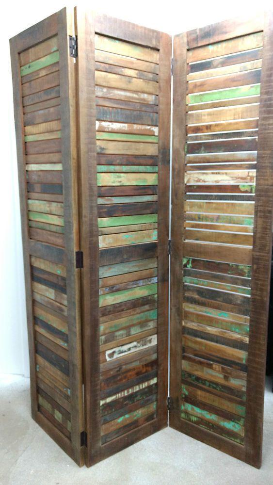 Paravent Wand paravent raumteiler trennwand massiv altholz holz bunt spanische
