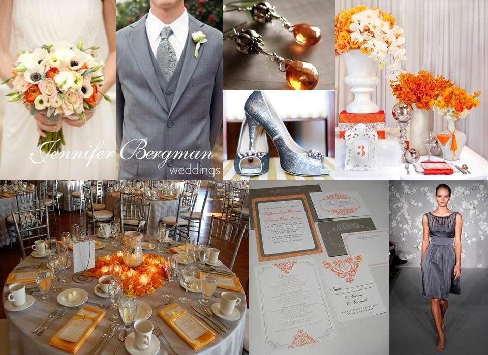 Grey And Orange Wedding Inspiration Board Orange Grey Wedding
