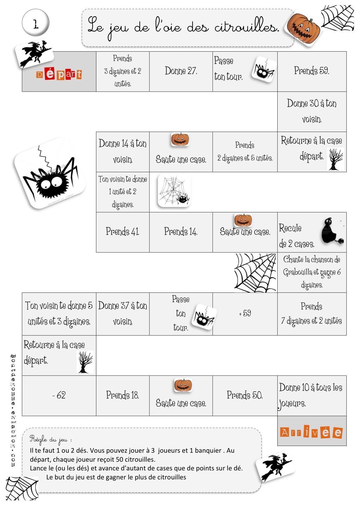 Fabuleux Jeu de l'oie des citrouilles : Maths | La citrouille, Jeux de et Jeu YE58