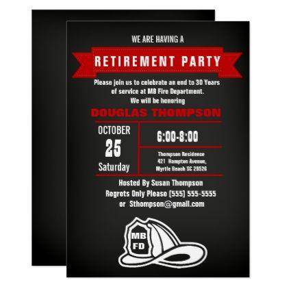 Chalkboard FiremanChief Retirement Card  Invitations Custom