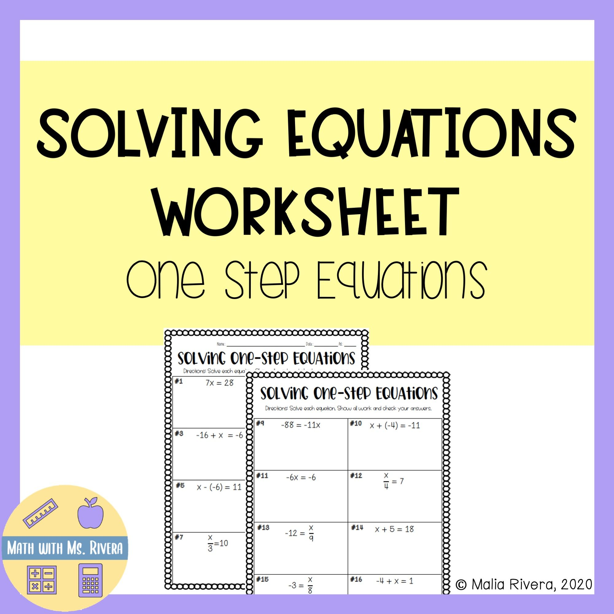 Solving One Step Equations Worksheet One Step Equations Solving Equations Equations