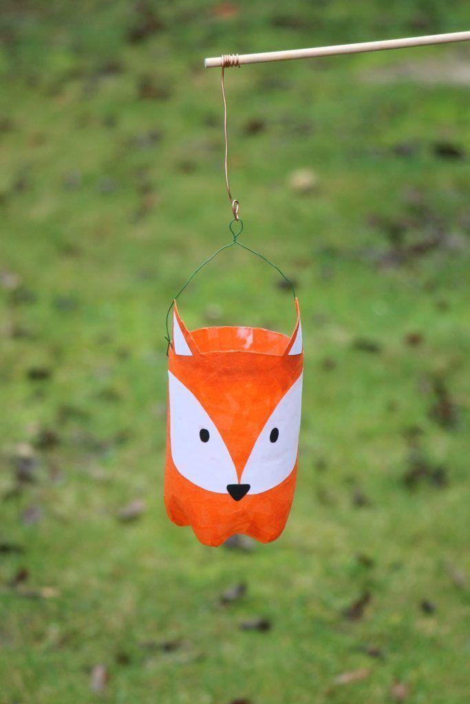 Upcycling-Idee: Fuchs-Laterne aus PET Flasche basteln - Lavendelblog #upcyclingideen