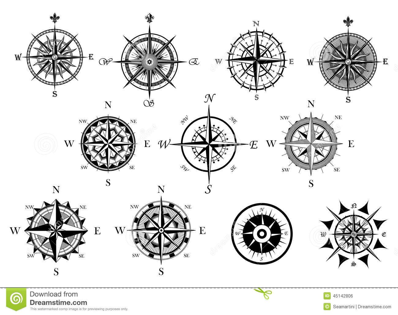 Nautical Wind Rose And Compass Icons Set Download From