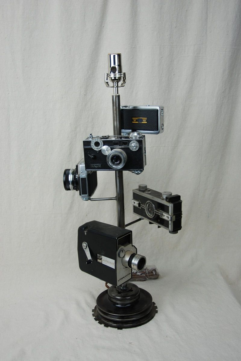 vintage camera lamp, mounted on re purposed industrial