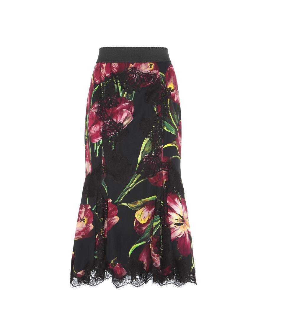 Black and purple printed silk and cotton-blend skirt
