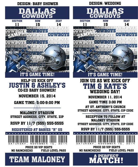 Printable birthday party invitation card dallas cowboys birthday printable birthday party invitation card dallas cowboys birthday ticket invitation football weddings baby showers bar mitzvahs filmwisefo
