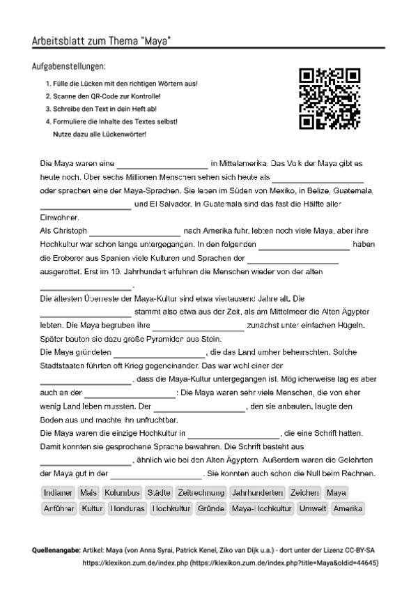 Fein Maya Arbeitsblatt Printables Ideen - Arbeitsblatt Schule ...