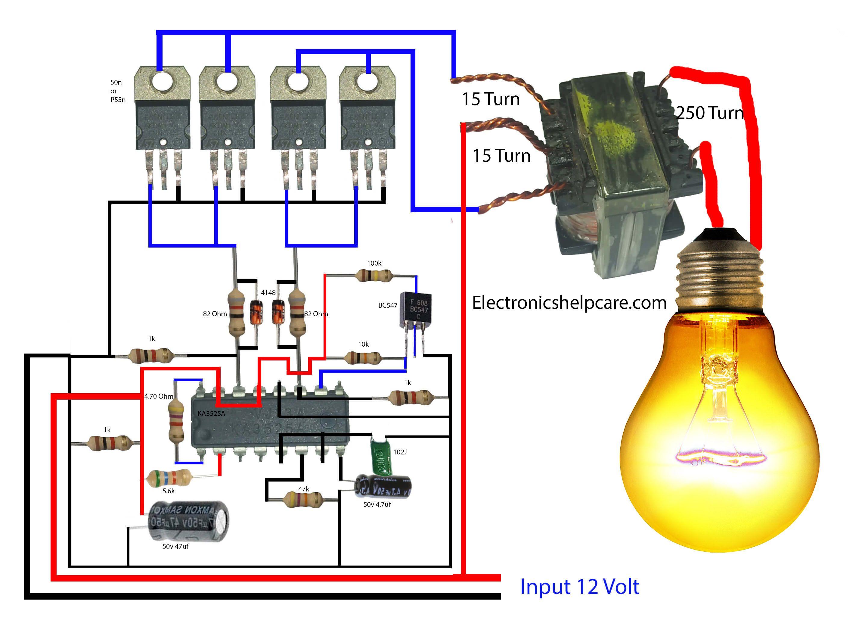 how to make an inverter? using 12v to 220v. electronics #logicboard